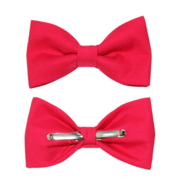 Pomegranate Pink Clip-On Cotton Bow Tie | Choose Men's or Boys Bowtie | Gift For Him | Boy Clip On Bow Tie | Mens Clip On Bow Tie