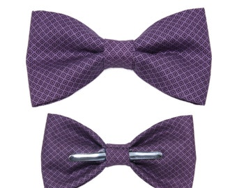 Dark Purple Square Clip-On Cotton Bow Tie - Choice of Men's or Boys