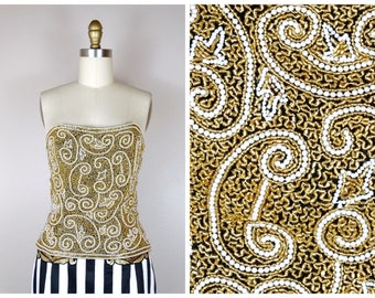 d94eb0825d Art Deco Gold Pearl Embellished Bustier   Gold Beaded Strapless Top Small
