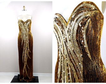 97e28fea Vintage Gold Beaded Gown / Black & Gold Sequined Art Deco Dress / Heavily Beaded  Sequin Embellished Gown