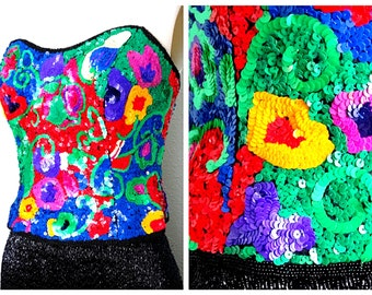 905cb66825 Reserved    BRIGHT All Sequined Strapless Top   Abstract Sequined Beaded  Bustier   Art Deco Corset