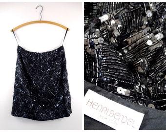 88093d13d Henri Bendel Beaded Sequined Skirt // HEAVY All Beaded Silk Skirt // Vintage  Black Glass Beaded Sequin Embellished Skirt