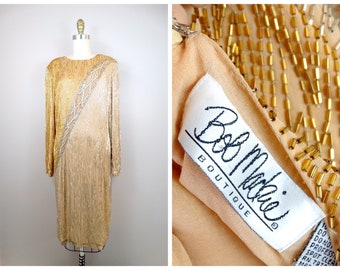 c3dbd80b STUNNING Bob Mackie Beaded Dress // Gold & Silver Hand Beaded Crystal  Sequined Cocktail Dress US Size 14