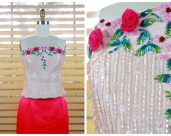ff028c6364 Pink Rose Beaded Bustier    Iridescent Pastel Beaded Sequin Embellished Top     Floral Vines Embroidered Bustier
