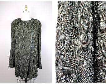 Norma Kamali Couture Alle Perlen Seide Mantel / / Stark Verziert Doppelt  Zweireiher Schillernde Dunkle Smaragd Grün Abend Jacke
