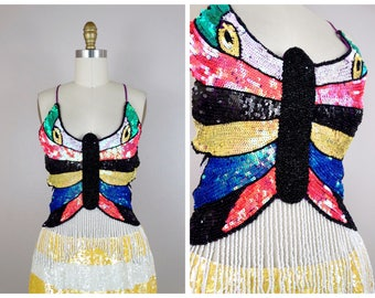 2aacbf2057 NEON Rainbow Sequined Butterfly Top / Bright Iridescent Sequin Embellished  Strappy Bustier Top / Fringe Beaded Open Back Crop Top