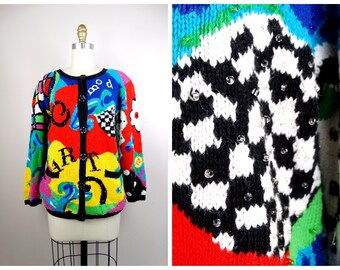 81471655f 80s POP ART Sweater // Art Deco Abstract Colorful Cardigan // Retro  Embellished Sweater Top