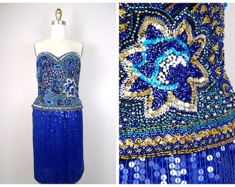 d8300020df Royal Blue Beaded Bustier + Skirt    Gold and Bold Blue Sequin + Bead  Embellished Top and Skirt