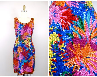 ded0b6ad VTG Bright Sequined Dress // Colorful Floral Dress // Beaded Sequin Trophy  Dress by Black Tie Oleg Cassini