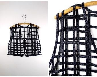 Vintage Glass Beaded Caged Vest  Sheer Beaded Jet Black Netted Cropped Bolero Shrug  Cage Embellished See Through Vest