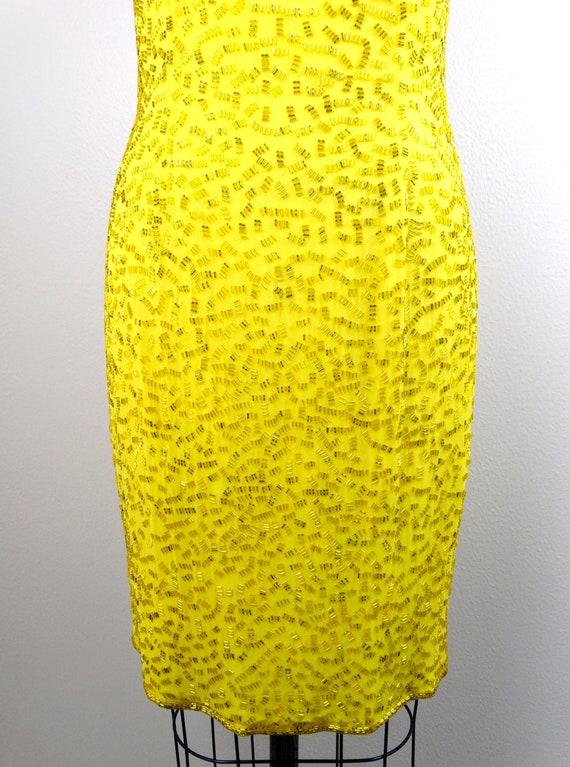 S/M Yellow Beaded Dress / Bright Fully Embellishe… - image 3