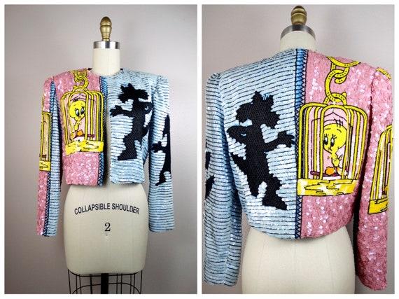 RARE Cartoon Sequin Embellished Jacket / Novelty A