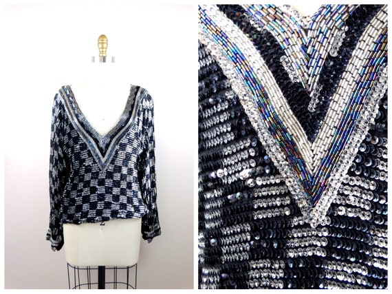 RETRO Beaded Sequined Top // Black & Silver Sequin