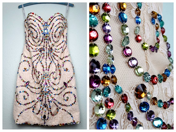 XS | Jewel Beaded Mini Dress // Strapless Crystal