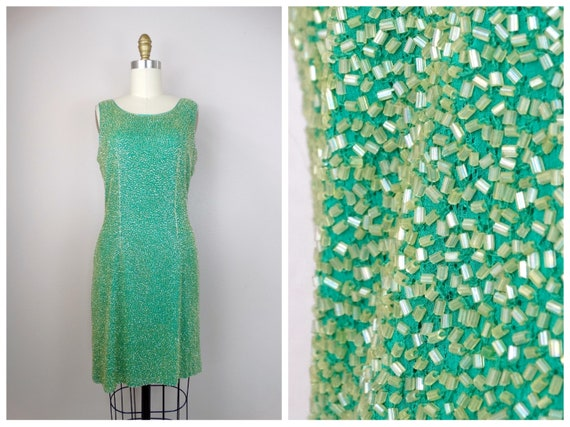 M/L Green & Yellow Beaded Dress / Amazing Heavily