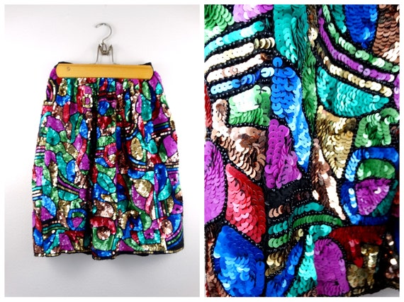 S/M Bright Sequin Embellished Skirt // Abstract Se