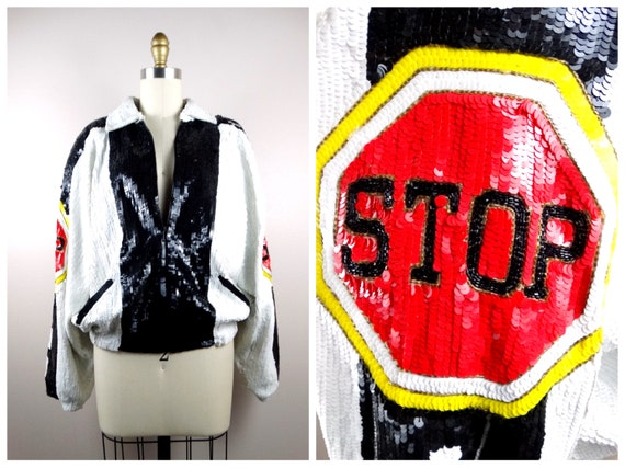 STOP SIGN Sequin Jacket // Funky Novelty Sequined