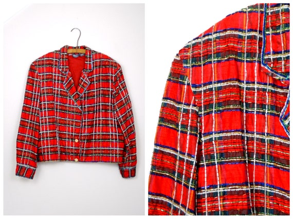 M/L Red Plaid Beaded Jacket // Vintage Holiday Chr