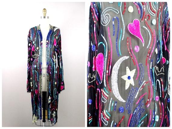 Moon & Stars Sequin Long Kimono Jacket // Pink Hea