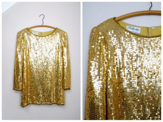 L/XL Gold Sequined Top / Flashy Gold Sequined Blou
