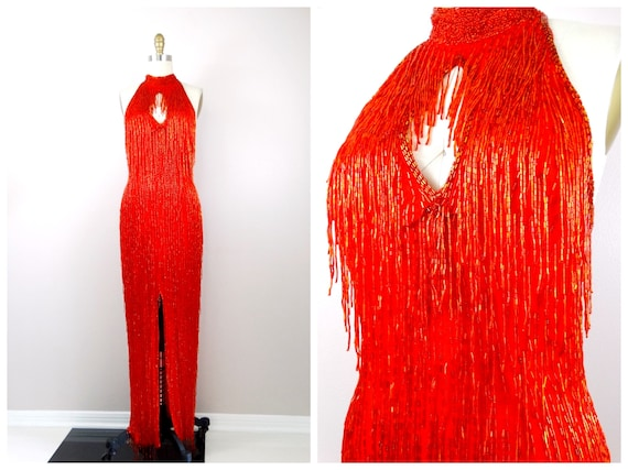 HEAVILY Beaded Fringed Gown / Red Vintage Couture