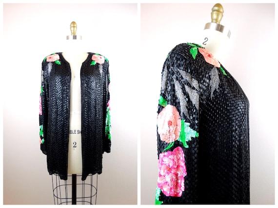 M/L Vintage Sequin Roses Evening Jacket / Iridesce