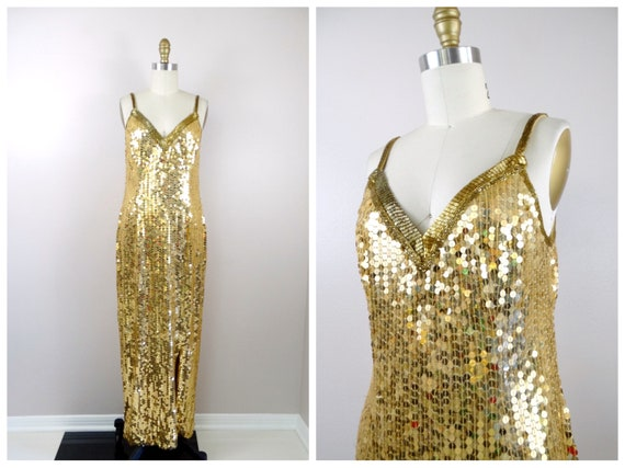 VTG Gold Beaded Gown • Gold Sequined Bridesmaid Dr