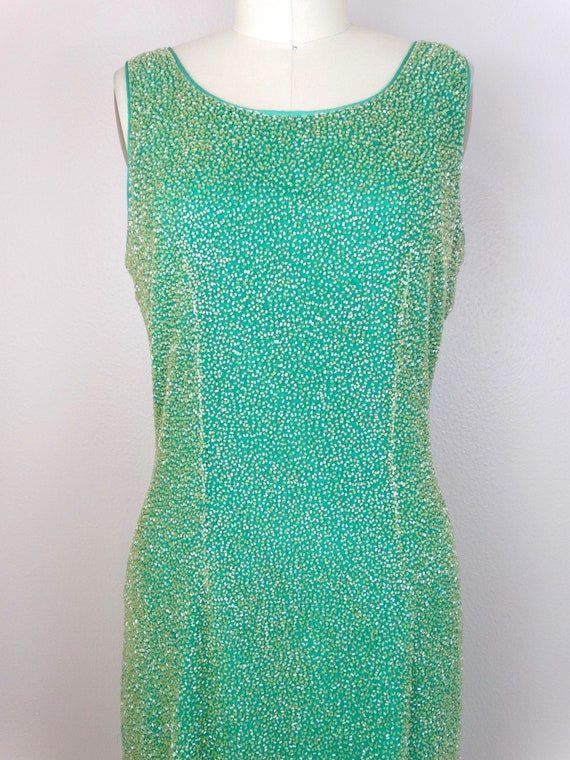 M/L Spring Green Yellow Beaded Dress / Amazing He… - image 2