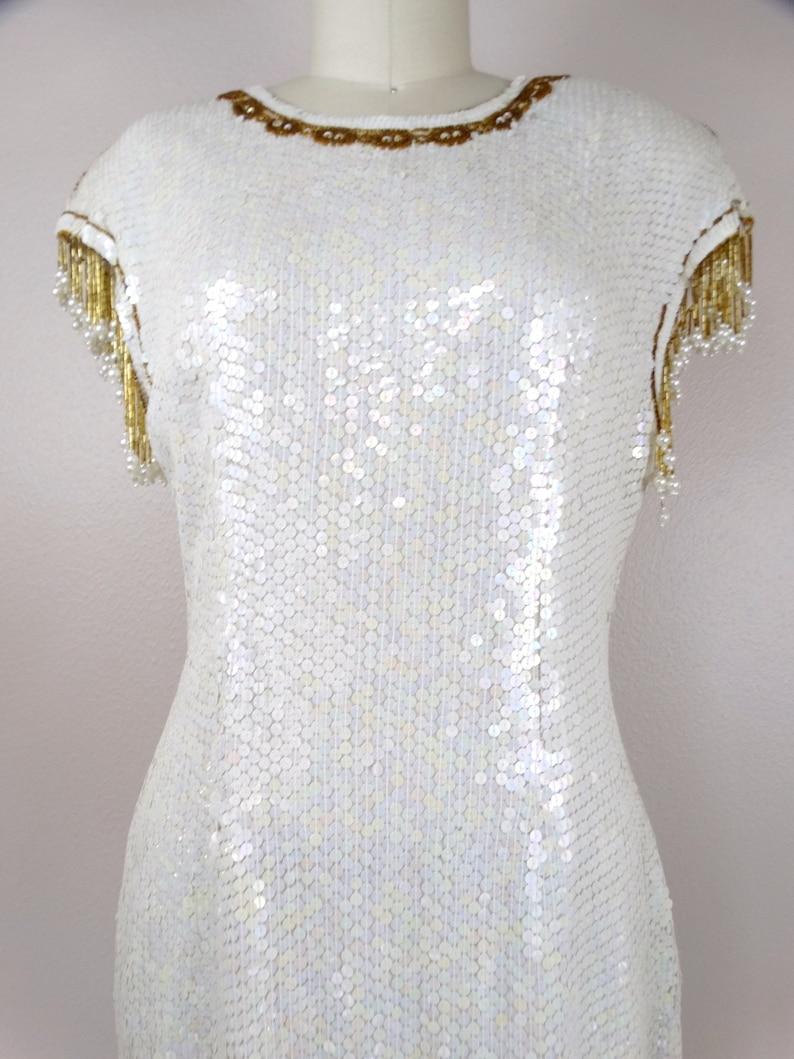 M/L Fransen Perle Perlen Kleid weiß und Gold Fransen ...