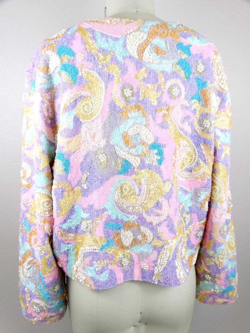 Hand Beaded Fully Sequined Jacket  Very Heavy Pastel Pearl Beaded Sequin Floral Open Jacket  HEAVILY Embellished Jacket