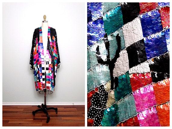 INCREDIBLE Retro Fully Sequined Kimono / Color Blo
