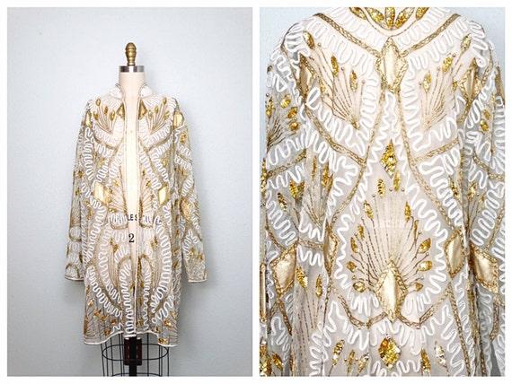 VTG Art Deco Gold Beaded Sequin Kimono / Sheer Ivo