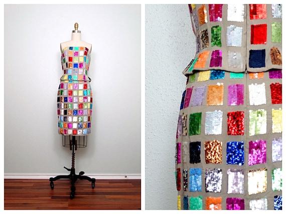 Rainbow Sequin Bustier Top // Color Block Sequined