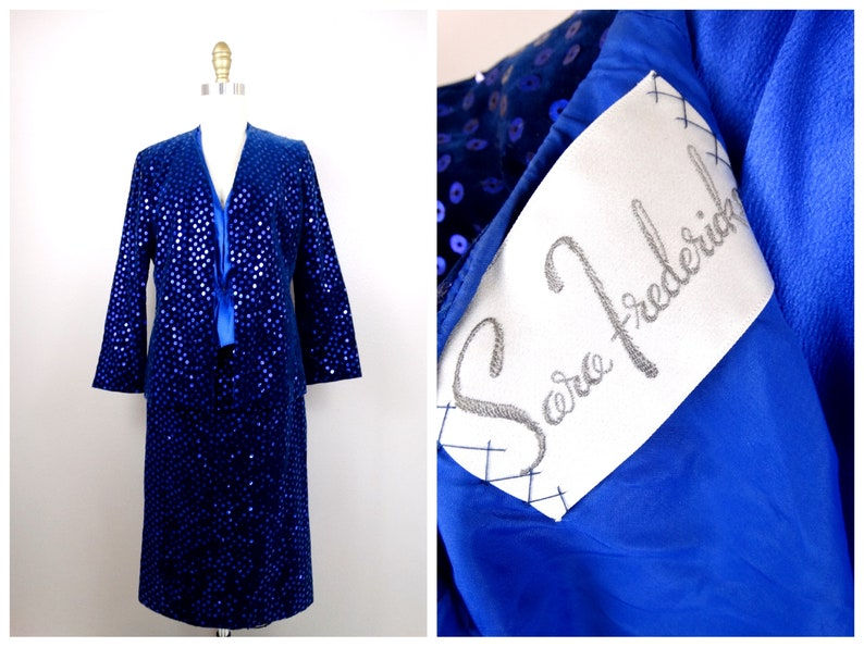 5377b85e0ff 60's Couture Sequin Embellished Dress Suit by Sara   Etsy