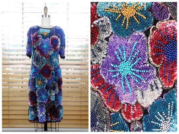 GLAM Bright Sequined Dress // Rainbow Sequin Dress