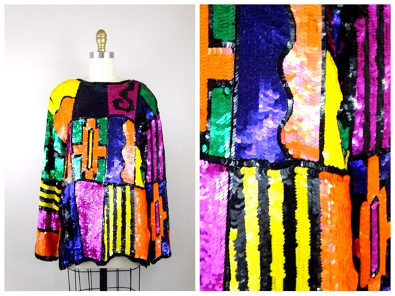 L/XL Vintage Neon Sequined Blouse / Bright Sequin