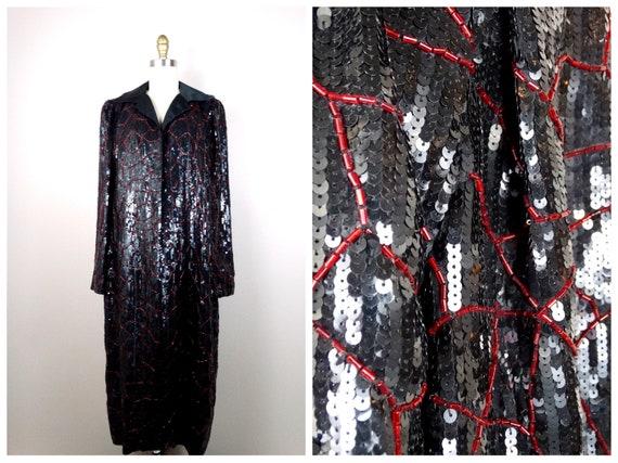 HEAVY Beaded Sequin Embellished Jacket / Vintage L
