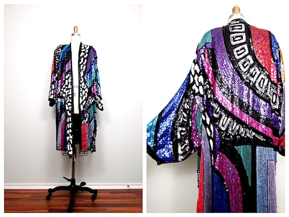 INCREDIBLE Fully Sequined Kimono / Retro Embellish