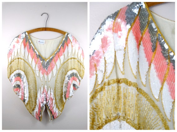 VTG Batwing Sequin Top // Pink White & Gold Beaded