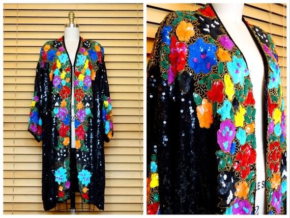 INCREDIBLE Retro Sequined Kimono / Rainbow Sequin
