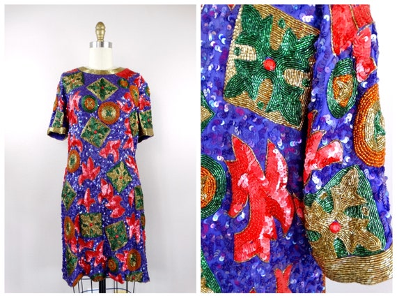 L/XL Vintage Sequined Dress // Retro Red Pink and