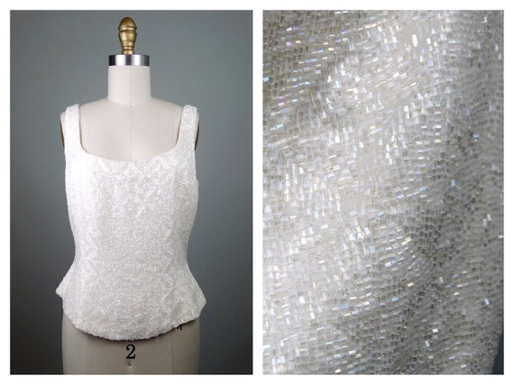 M | Heavy All Glass Beaded Top // Iridescent Fully