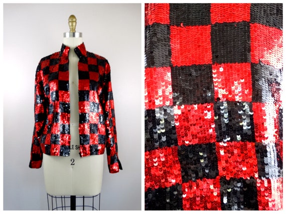 90's Mod Sequin Jacket // 1990s Retro Checkered Se