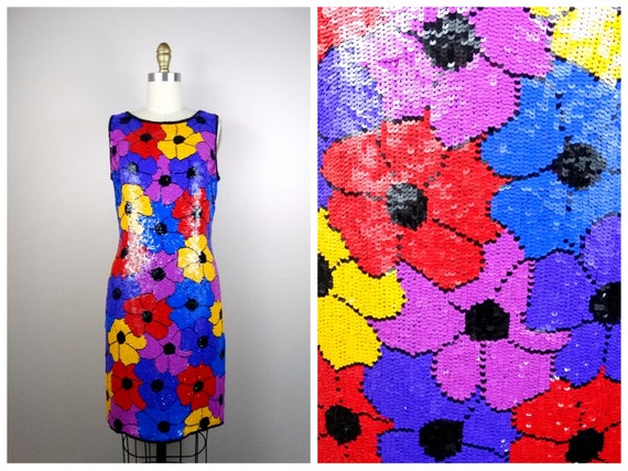 Psychedelic Sequin Dress / Bright Neon Floral Sequ
