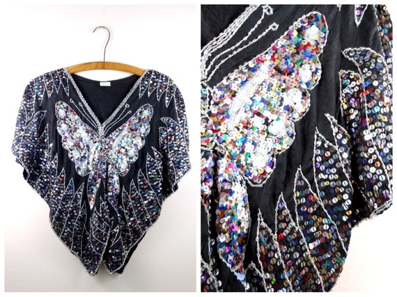 Vintage Confetti Sequin Top // Iridescent Black Be