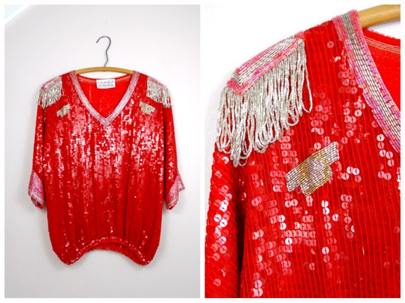 HEAVILY Sequined Beaded Top / Red Silk Dolman Slee
