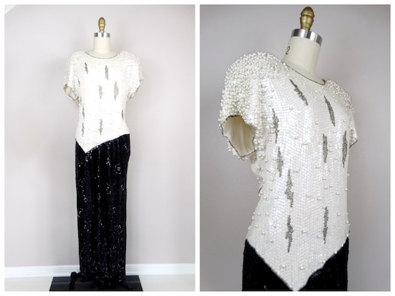 Vintage Pearl Beaded Dress / Black and White Beade