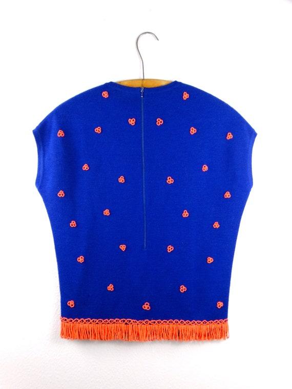 60s Italian Beaded Bright Blue Wool Top / Neon Or… - image 3