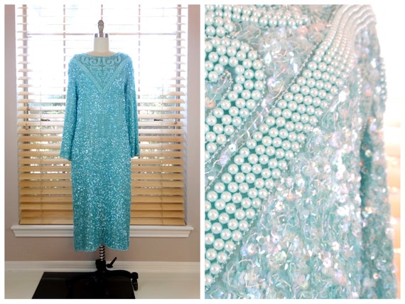 XL | Mint Green Beaded Sequined Dress / Pastel Pea