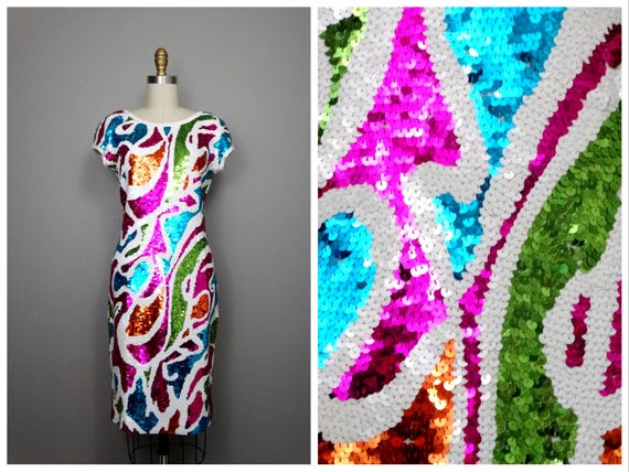 6685292a Vintage Glam Sequin Dress // Vibrant Pink Purple Blue Green | Etsy